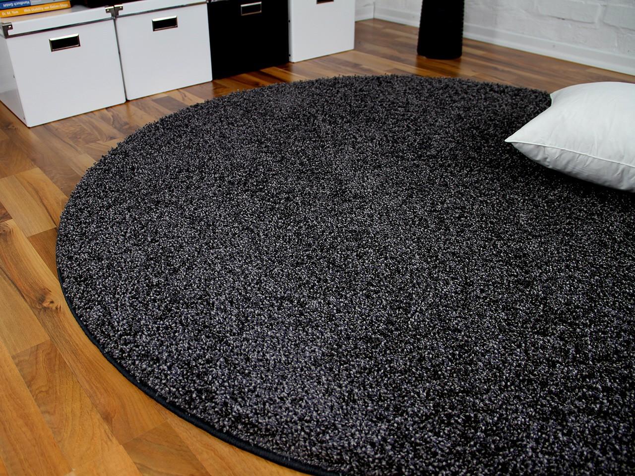 teppich hochflor shaggy premio anthrazit rund in 7 gr en. Black Bedroom Furniture Sets. Home Design Ideas