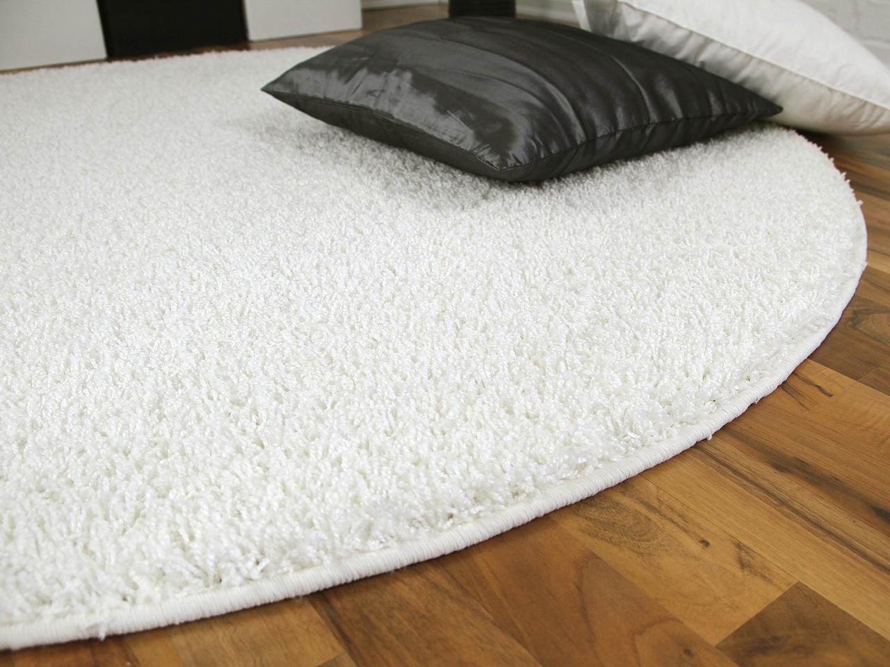 teppich hochflor shaggy premio weiss rund abverkauf. Black Bedroom Furniture Sets. Home Design Ideas