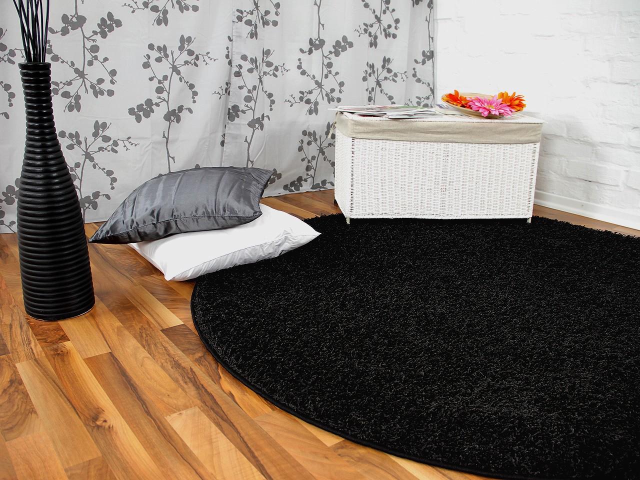 hochflor langflor teppich shaggy nova schwarz rund sonderaktion teppiche hochflor langflor. Black Bedroom Furniture Sets. Home Design Ideas