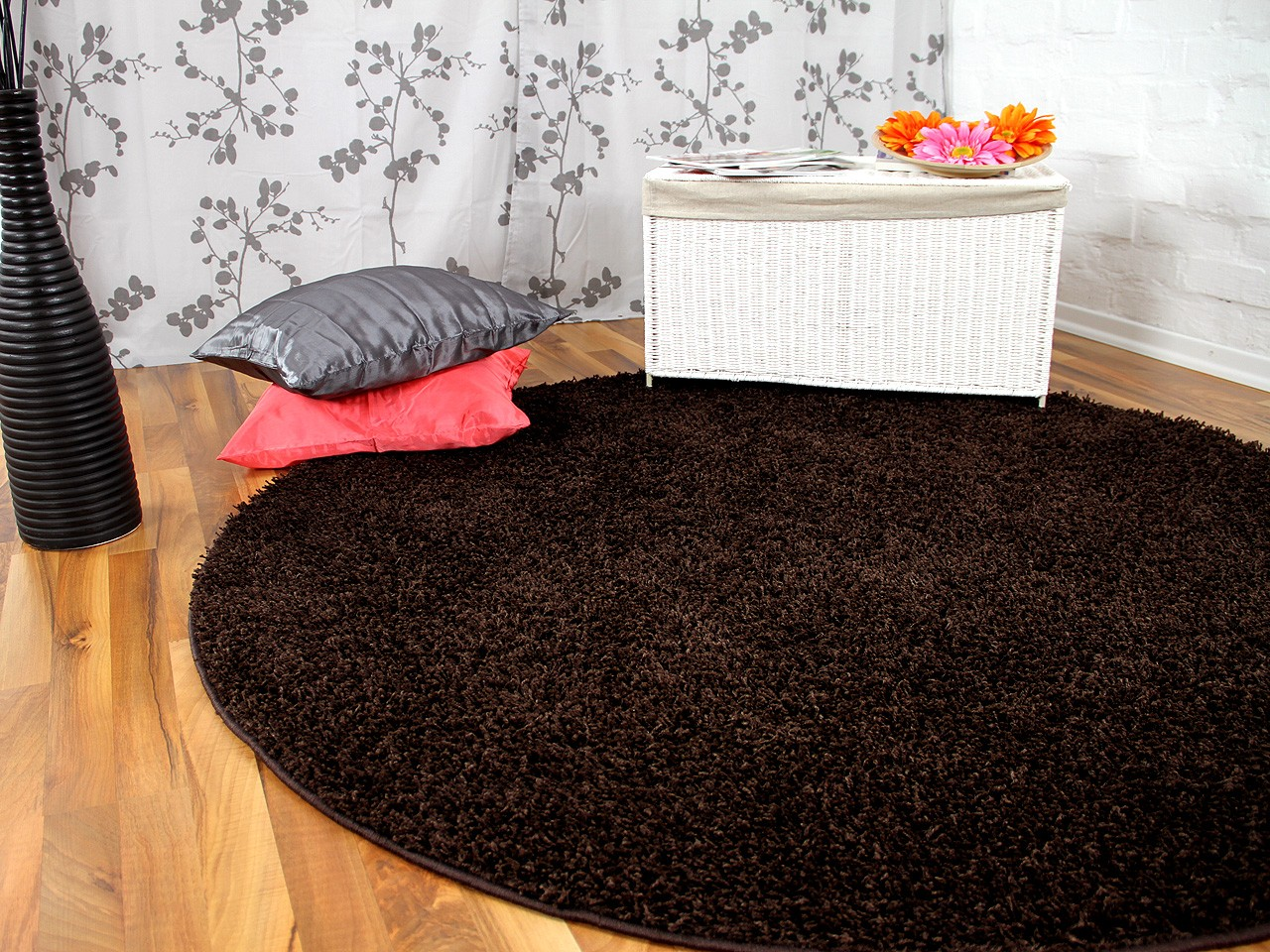 hochflor langflor teppich shaggy nova braun rund sonderaktion teppiche hochflor langflor. Black Bedroom Furniture Sets. Home Design Ideas