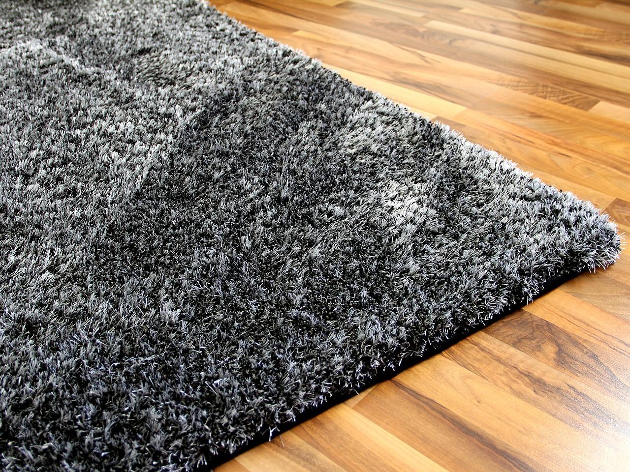 hochflor shaggy teppich luxus feeling mix anthrazit teppiche hochflor langflor teppiche schwarz. Black Bedroom Furniture Sets. Home Design Ideas