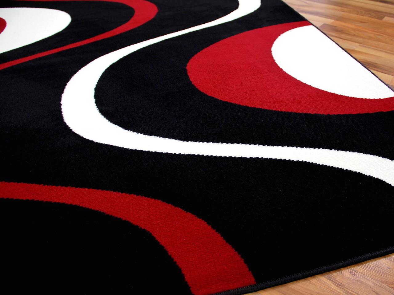 Teppich Modern Trendline Schwarz Rot Retro 4 Gr 246 223 En