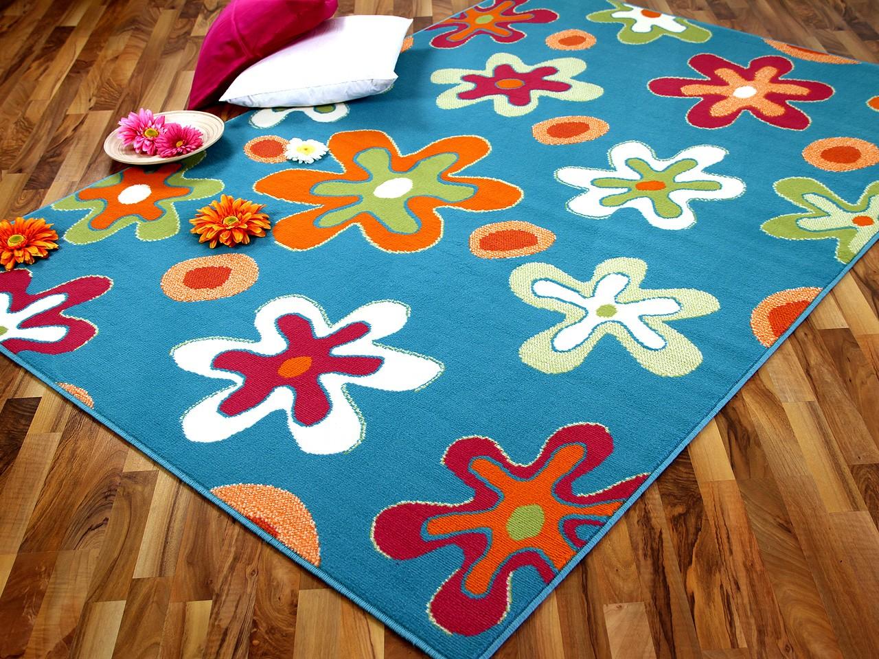 Teppich Modern Trendline Blau Blumen  ABVERKAUF Teppiche