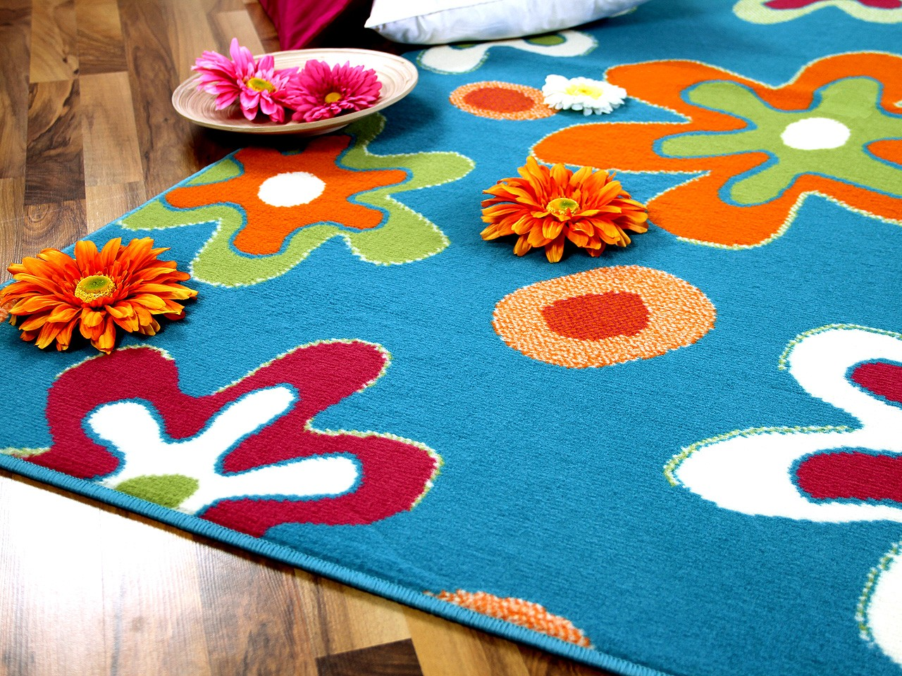 teppich modern trendline blau blumen abverkauf teppiche designerteppiche trendline teppiche. Black Bedroom Furniture Sets. Home Design Ideas