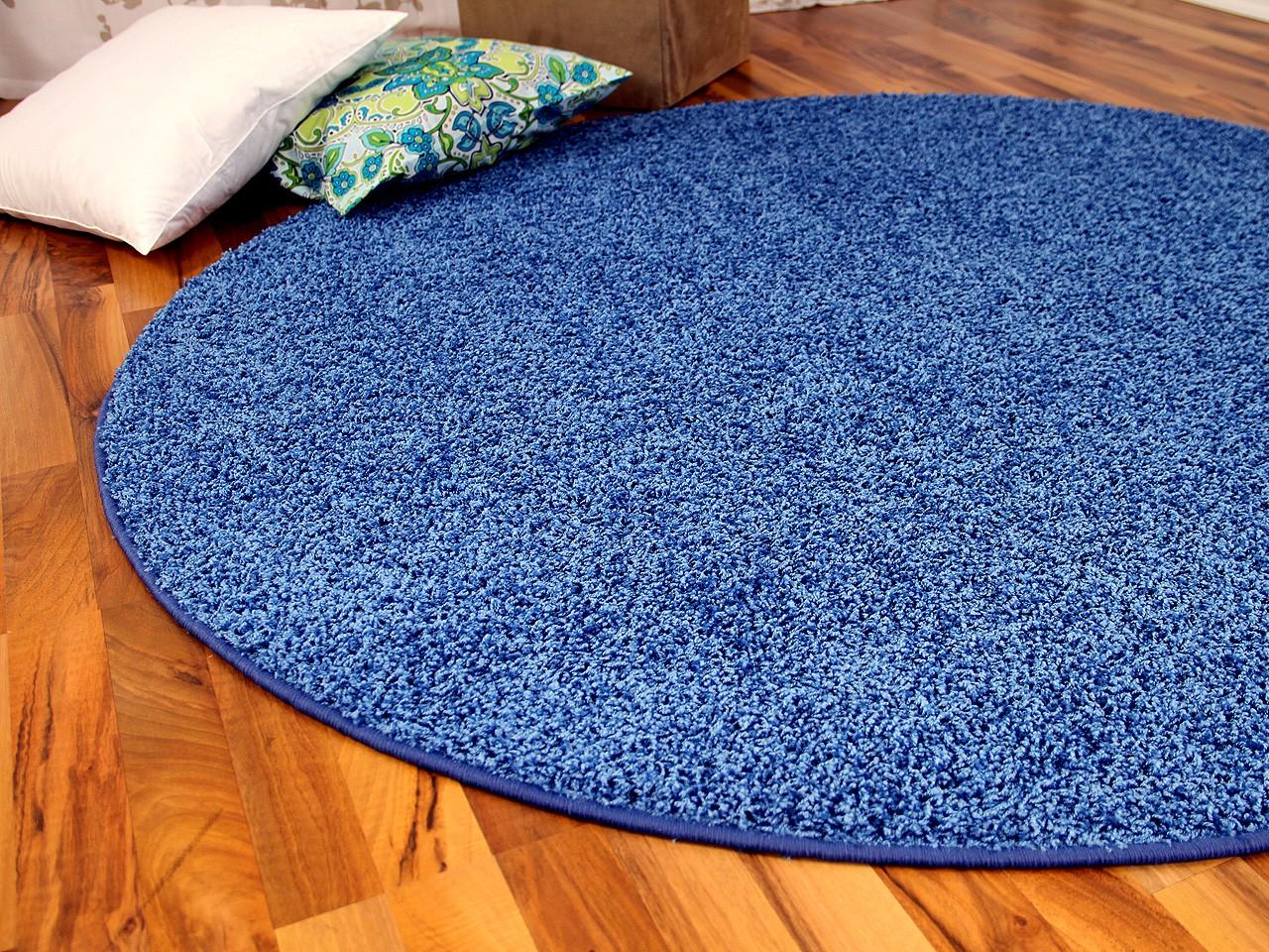 hochflor shaggy teppich prestige blau rund in 7 gr en. Black Bedroom Furniture Sets. Home Design Ideas