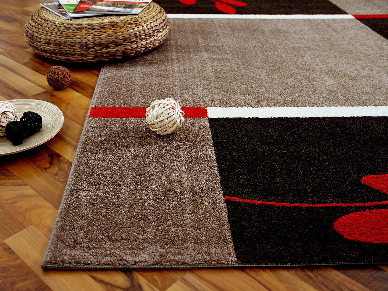 Designer Teppich Softstar Country Rot Braun Blumen - SONDERANGEBOT ...