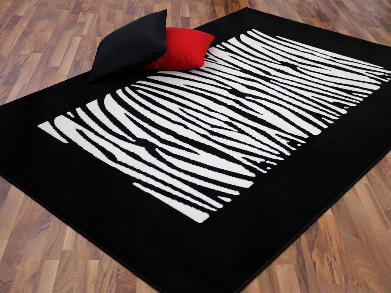 teppich trendline schwarz wei streifen abverkauf. Black Bedroom Furniture Sets. Home Design Ideas
