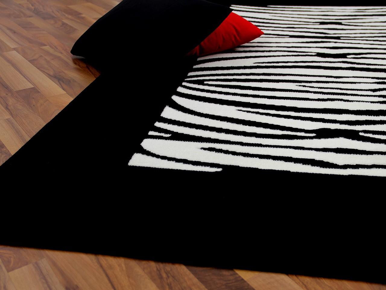 teppich trendline schwarz wei streifen abverkauf teppiche. Black Bedroom Furniture Sets. Home Design Ideas