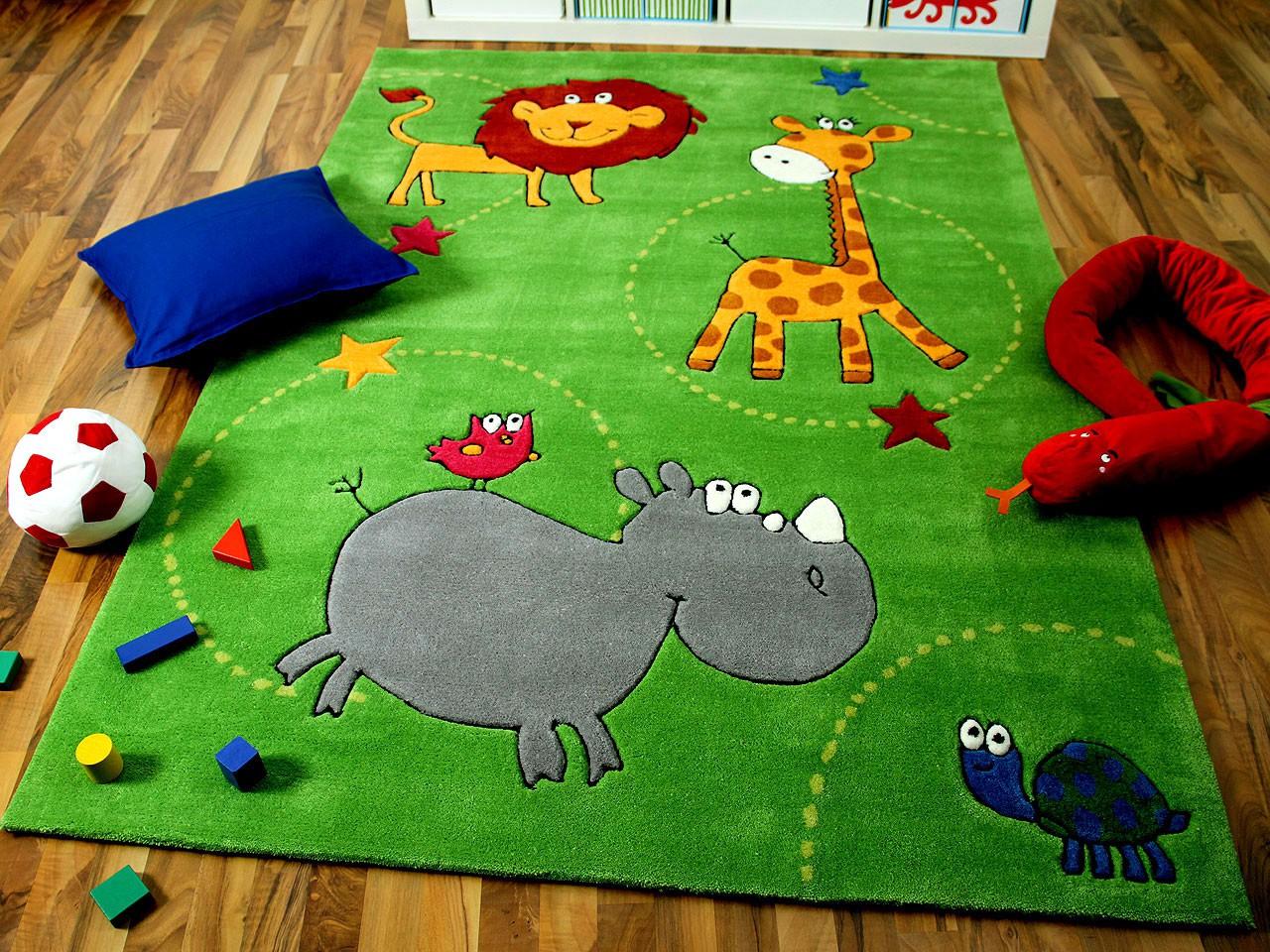 Lifestyle Kinderteppich Grün Zoo !!! Sofort Lieferbar
