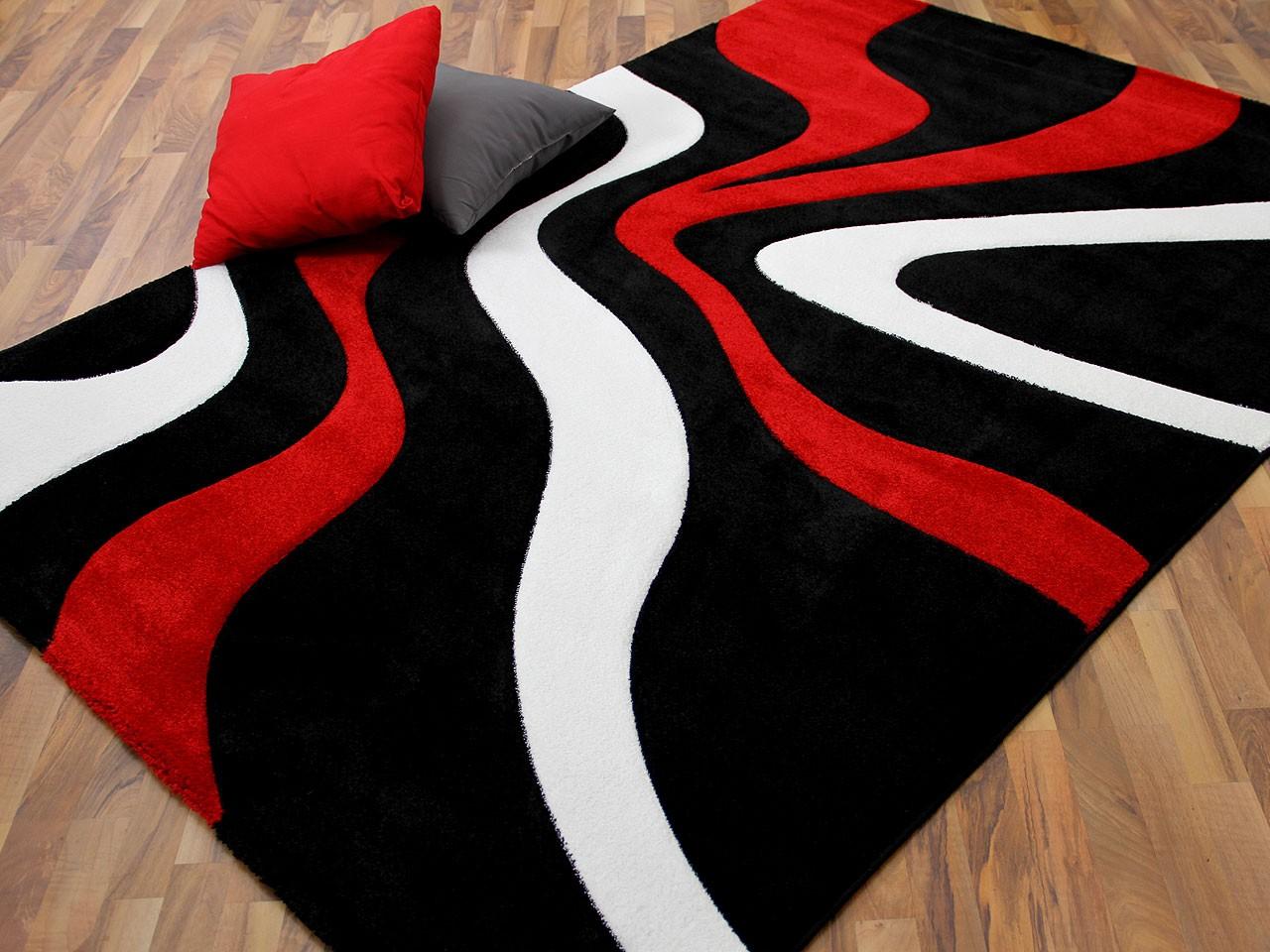 designer teppich maui schwarz rot wellen teppiche designerteppiche. Black Bedroom Furniture Sets. Home Design Ideas