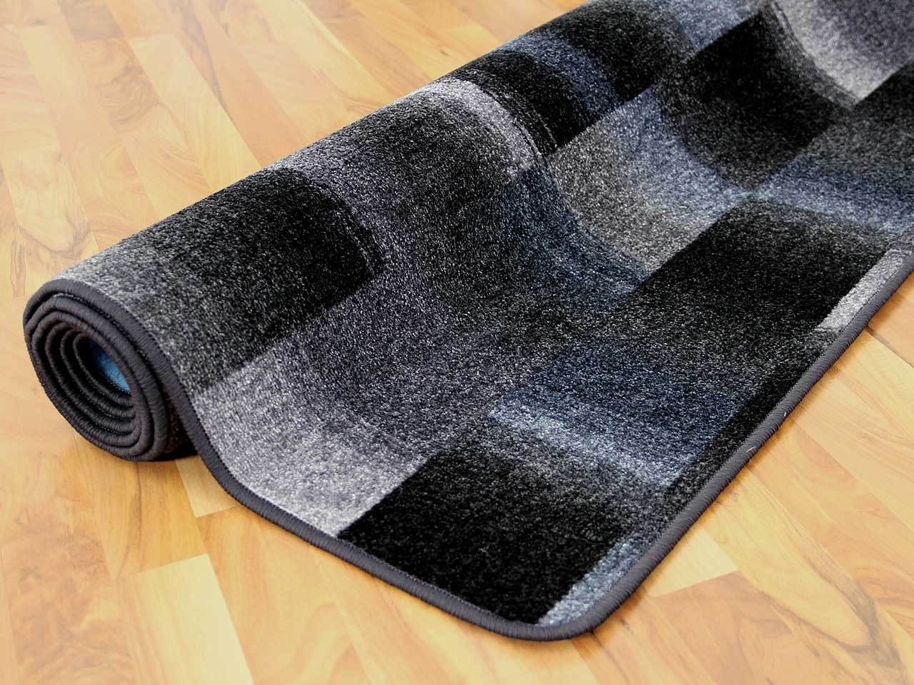 Designer Velour Teppich Mystic Karo Blau Grau Teppiche