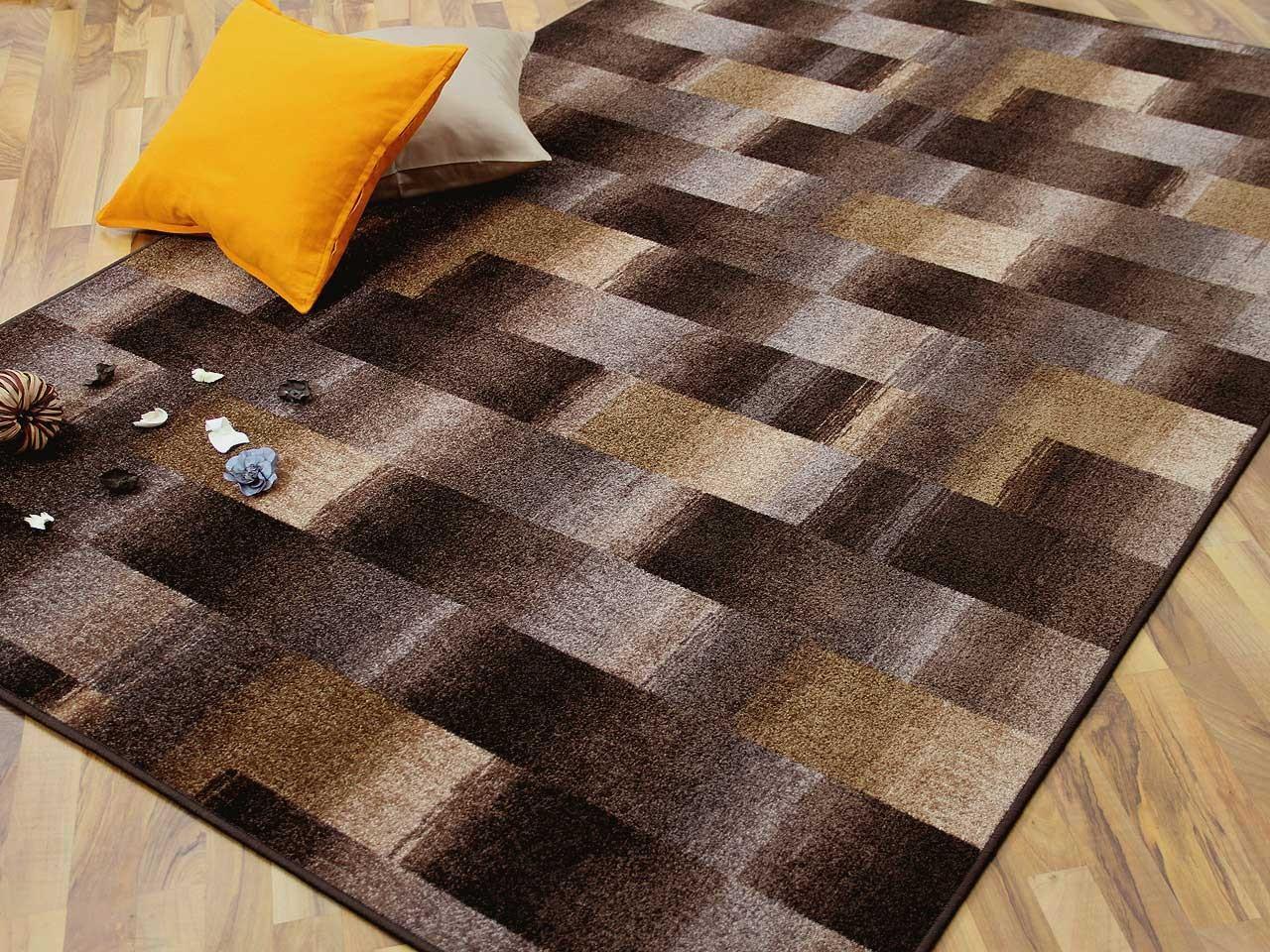 designer velour teppich mystic karo braun teppiche. Black Bedroom Furniture Sets. Home Design Ideas