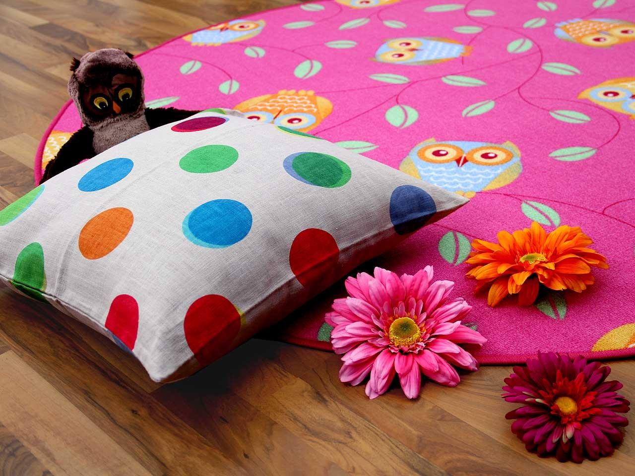 kinder spielteppich eule pink rund in 7 gr en teppiche kinder und spielteppiche snapstyle. Black Bedroom Furniture Sets. Home Design Ideas