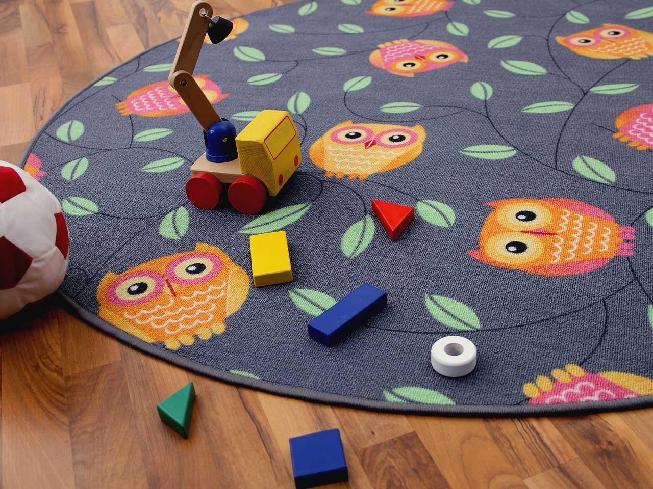 kinder spielteppich eule grau rund in 7 gr en teppiche kinder und spielteppiche snapstyle. Black Bedroom Furniture Sets. Home Design Ideas