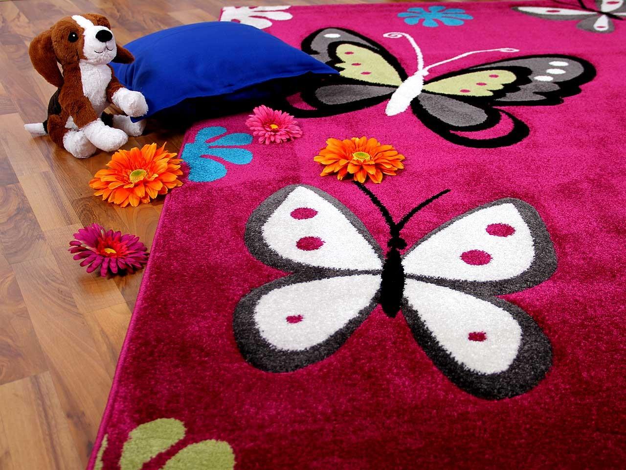 Teppich Fantasy KIDS Butterfly Pink in 3 Größen Teppiche