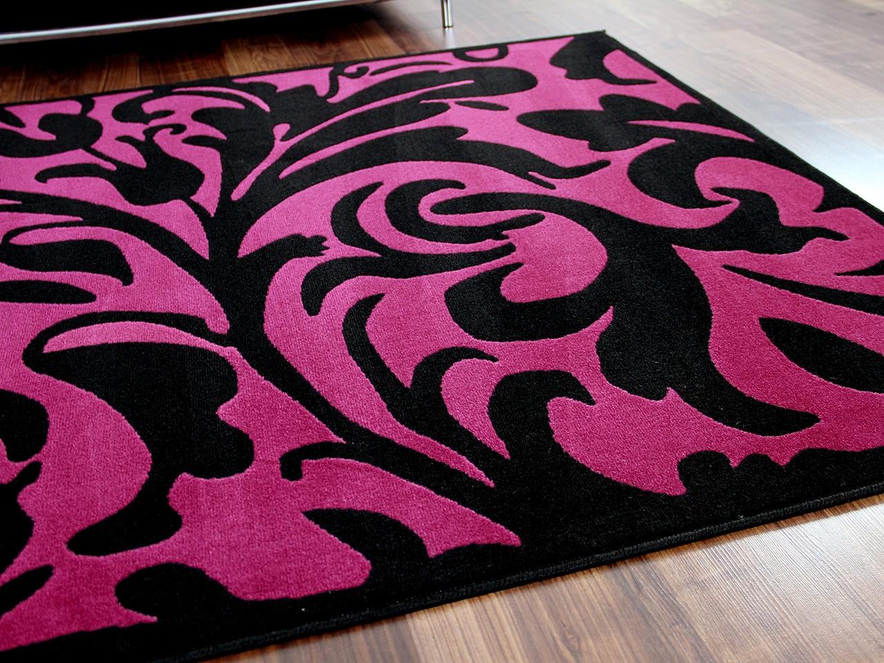 Designer teppich passion schwarz lila barock teppiche ...
