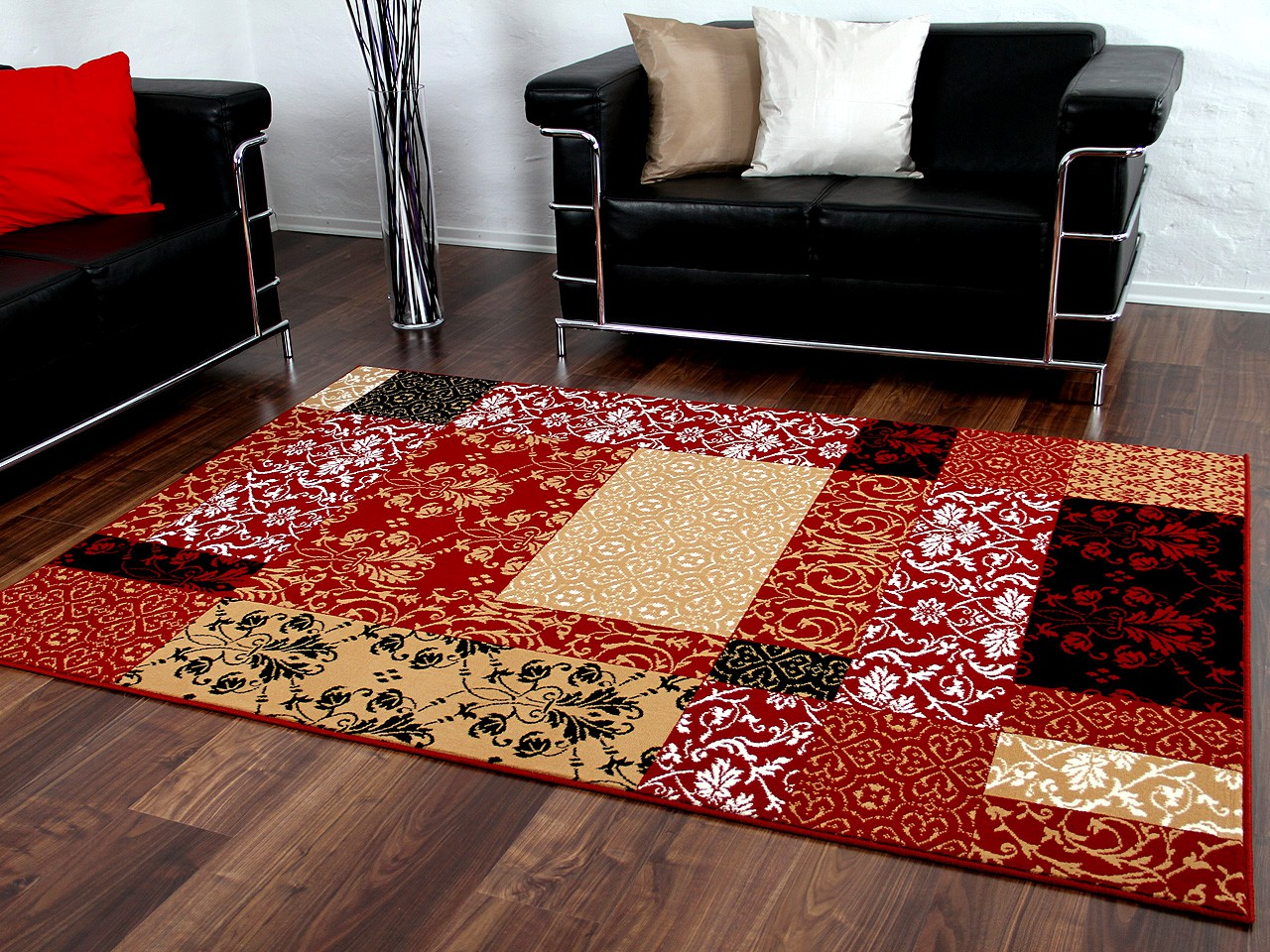 designer teppich passion rot beige patchwork teppiche designerteppiche passion teppiche. Black Bedroom Furniture Sets. Home Design Ideas