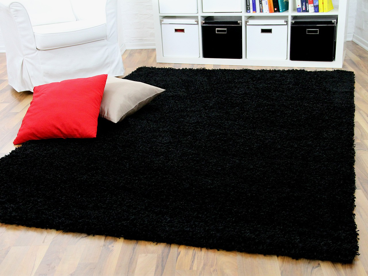 hochflor langflor shaggy teppich aloha schwarz teppiche. Black Bedroom Furniture Sets. Home Design Ideas