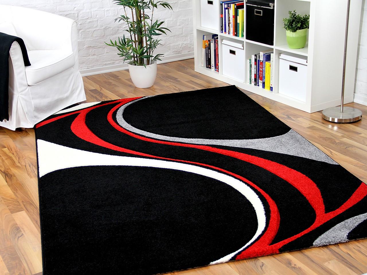 Designer Teppich Maui Schwarz Rot Style Teppiche